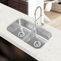 Costco: Clark™ Stainless Steel Equal Double Bowl Low Divide Sink