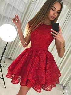 Party Dresses A-Line, Red Lace Homecoming Dresses, Red Homecoming Dresses, Lace Party Dresses Homecoming Dresses 2018 Modest Homecoming Dresses, Cheap Short Prom Dresses, Short Lace Dress, Unique Dresses Short, Classy Short Dresses, Short Red Prom Dresses, Homecoming Outfits, Homecoming Dance, Homecoming Ideas