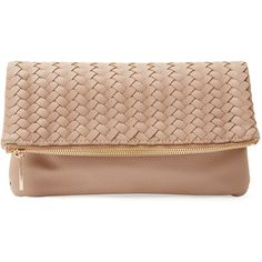 Deux Lux Varick Fold Over Clutch ($59) ❤ liked on Polyvore featuring bags, handbags, clutches, bolsas, purses, pink, beige handbags, faux leather purse, vegan leather handbags and woven handbag