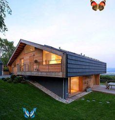 Proje 1 - Konut Bahçe Örnekleri Trakya Üniversitesi Peyzaj Mimarlığı: Proje 1 - Konut Bahçe Örnekleri<br> ... Modern Luxury, Modern Rustic, Beautiful Architecture, Architecture Design, Kylie Jenner, Chalet Design, A Frame Cabin, Log Cabin Homes, House Doors