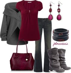"Cute Cute! ""Gray & Berry"" by jklmnodavis on Polyvore"