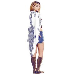 9ed6199c98bd9 Ladies Blue & White Long Kimono-Style Beach Shawl Cover Up One Size