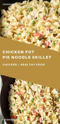 This Chicken Pot Pie Noodle Skillet is classic chicken pot pie transformed into a skillet dish with noodles instead of a crust. New Recipes, Dinner Recipes, Cooking Recipes, Favorite Recipes, Dinner Ideas, Kitchen Recipes, Crockpot Recipes, Chorizo Recipes, Skillet Recipes