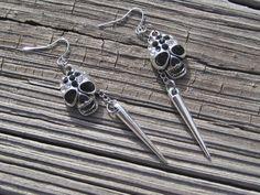 Skull and Spike Earrings Skull Earrings Skull by SpoiledRockN, $10.00