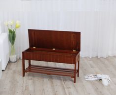Shoe Bench with Storage –Roundhill Quality Solid Wood Cherry: Home & Kitchen @ Amazon.com –$60