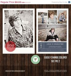 Senior Graduation Announcement Template For Photographers  X