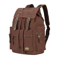 d29602957198 Amazon.com  CLELO Vintage Canvas Leather School Bag Laptop Backpack Rucksack  Multi-pocket Large Capacity(Coffee)  Sports   Outdoors