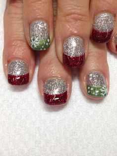 Super nails red glitter silver new years Ideas Chrismas Nail Art, Christmas Gel Nails, Holiday Nails, Purple Nail Designs, French Nail Designs, Acrylic Nail Designs, Pastel Nail Art, Gel Nails French, Polka Dot Nails