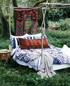 Dreaming of this bed today. The Mystic Eden Cover looks great pared back with deep red Moroccan textiles _______________________________________ Gorgeous shot by Beautiful styling by Quilt Cover Sets, Outdoor Furniture, Outdoor Decor, Moroccan, Mystic, Looks Great, Textiles, Quilts, Treehouse