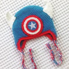 Captain America Crochet Hat by LilyandMasonboutique on Etsy