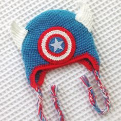 Captain America Crochet Hat by LilyandMasonboutique on Etsy