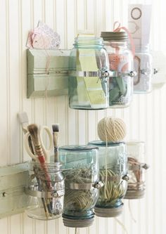 Mason jars as wall storage  List of things to do: visit Hubby's shop for boards.  Sanded if possible.  Hardware store for hardware, paint, etc.  Now where is Hubby's hammer?