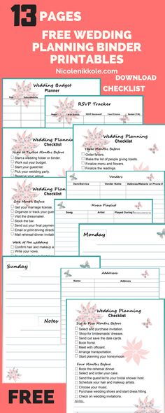 Free wedding binder printables,The first steps in wedding planning is to get organized. Start your wedding binder with these free printable pages. I created the ultimate wedding planning binder printable checklist for easy access. Weeding Planner, Wedding Budget Planner, Wedding Planning Binder, Party Planning, Wedding Coordinator Checklist, Diy Wedding Binder, Diy Wedding Journal, Wedding Timeline Planner, Wedding Binder Organization