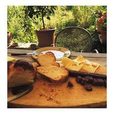 Swiss lunch in the valley #LateGram #Emmental #Lützelflüh #WestCentralSwitzerland #BernCanton #EmmentalCheese #SwissCheese #Zopf #BraidedBread #Sausage #Landjäger by rosemaryhitchens