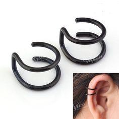 2pcs Black Stainless Steel Wrap Ear Cuff Earring Cartilage Clip On NO Piercing