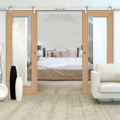 Thruslide Surface Palermo Oak - Sliding Double Door and Track Kit - Clear Glass - Prefinished - Lifestyle Image Internal Sliding Doors, Barn Style Sliding Doors, Sliding Door Track, Sliding Door Systems, Single Doors, Double Doors, The Doors, Door Kits, Traditional Interior
