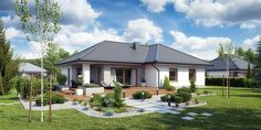 Projekt domu TK133 119,71 m2 - koszt budowy - EXTRADOM Modern Bungalow House, Bungalow House Plans, Painted Brick Exteriors, Minimal House Design, Modern Mediterranean Homes, Pergola, Beautiful Small Homes, House Of Beauty, Unusual Homes