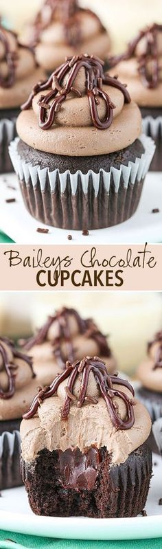 Chocolate cupcake, baileys ganache filling and Baileys frosting! Baileys Chocolate Cupcakes made with chocolate cupcake, Baileys chocolate ganache filling & Baileys frosting! These cupcakes are delicious! No Bake Desserts, Just Desserts, Delicious Desserts, Dessert Recipes, Yummy Food, Party Recipes, Baking Desserts, Healthy Desserts, Food Cakes
