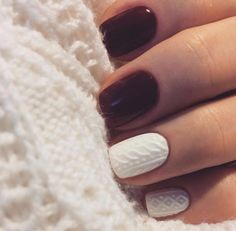 Fall/winter nails-- burgundy/plum color with two white cable knit sweater design accent nails. Luxury Beauty - winter nails - http://amzn.to/2lfafj4