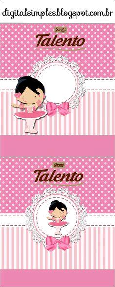Festa Bailarina Rosa, rótulo Caçulinha Bailarina Rosa, caixinhas, sacolinhas, caixa Milk Bailarina Rosa.
