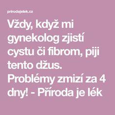 Vždy, když mi gynekolog zjistí cystu či fibrom, piji tento džus. Problémy zmizí za 4 dny! - Příroda je lék Home Doctor, Natural Medicine, Reiki, Diabetes, Detox, Health Fitness, Food And Drink, Math Equations, Beauty