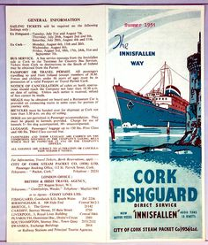 B&I Ferry brochure, August 2nd, July 28, Cork, Sailing, Candle