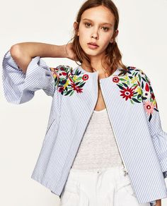 Image 2 of JACKET WITH FLORAL EMBROIDERY from Zara
