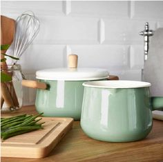Retro inspired enamel white and green pots and pans Poppytalk: Sneak Peek | New Products for IKEA
