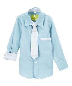 Blue Dapper Dude Button-Up & Tie - Toddler