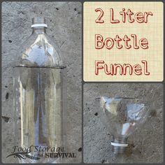 Top 10 Prepper Uses for 2 Liter Soda Bottles!--create a funnel and store grains! Plastic Milk Bottles, Soda Bottles, Recycled Bottles, 2 Liter Bottle, Emergency Preparedness, Survival Tips, Food Storage, Handicraft, Bottle Opener