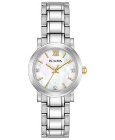 Bulova Women's Diamond Accent Stainless Steel Bracelet Watch 26mm 98P164 - Silver