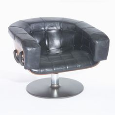 Martin Grierson, Leather, Rosewood and Aluminum Lounge Chair, 1970s.