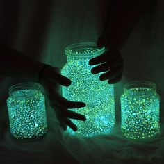 Glowing Celestial Mason Jars!    Instructions.    1) Break open a glow stick and poor out its contents into a jar with a seal and a lid.    2) Pour glitter inside ( diamond dust or glow in the dark glitter works best)     3) Put the seal and lid on and shake well.     It should last up to 4-6 hours depending on the brand of glow sticks. Shut off the lights and have fun. Perfect for Summer nights.