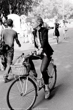 AFTER THE EMPORIO ARMANI SHOW- GIRL ON A BIKE