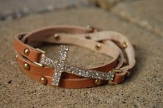 Cross Leather Wrap Bracelet Brown by StringofLove on Etsy, $22.00