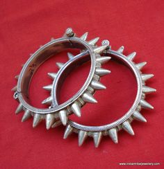 ethnic sterling silver bangle bracelet cuff spiked tribal belly dance jewelry. $483.00, via Etsy.