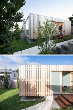 This modern shipping container office has been clad in yellow cedar, which over will develop a grey patina. Container Architecture, Architecture Design, Container Buildings, Sustainable Architecture, Residential Architecture, Contemporary Architecture, Cargo Container Homes, Storage Container Homes, Container Store