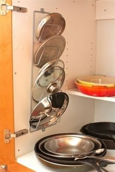Magazine Rack as Pot Lid Holder - Top 58 Most Creative Home-Organizing Ideas and DIY Projects