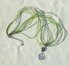 Good Luck Green Gemstone Pentagram Ribbon Necklace