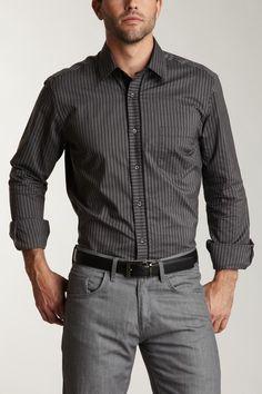 Fine Line Stripe Sport Shirt