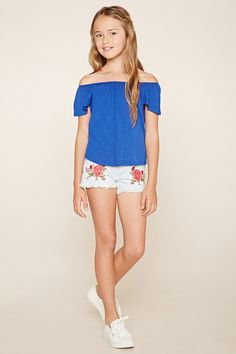 Forever 21 Girls - A slub knit off-the-shoulder top with cap sleeves, an elasticized neckline, and a tulip back.