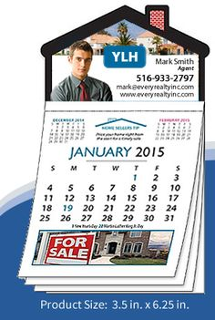 12 months #real-estate #magnetic house shaped calendars! Free shipping! Free Designs! Free Envelopes!