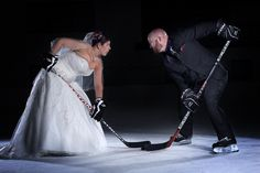 Bride: We met playing hockey & got engaged on the ice. We'd love to have pics on the ice on our wedding day. Crazy?  Me: Nope. I love it. Let's make it happen. I know just the photographer to call...    *photo by Craig Okraska