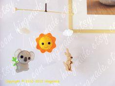 Australian Koala Kangaroo  Shower gift  Baby Nursery by hingmade, $50.00 Baby Joey, Australian Gifts, Kangaroo, Baby Shower Gifts, Applique, Felt, Nursery, Embroidery, Handmade Gifts