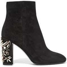 René Caovilla Embellished suede ankle boots ($1,200) ❤ liked on Polyvore featuring shoes, boots, ankle booties, sapatos, black suede ankle booties, black high heel booties, black suede bootie, suede boots and suede booties