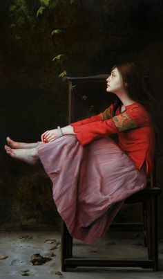 Lin Jinfu (Chinese, b. 1978), oil on canvas {figurative realism art asian female seated woman profile painting #loveart} linjinfu.net