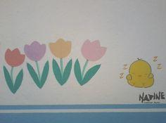 Arte para parquinho de escola maternal -  Tema: Bichinhos da horta Feito em tinta acrílica para parede e pigmento.
