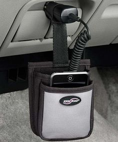 High Road Black Charger Caddy | zulily  $5.99 $7.00    Let coffee reclaim that cup holder. This convenient caddy organizes cords and keeps them out of the way and provides a protected place to put a phone, iPod or GPS.         4.13'' W x 5'' H x 1.5'' D     Polyester     Imported