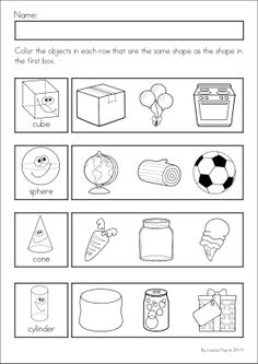 Kindergarten SPRING Math & Literacy unit. 93 pages in total. A page from the unit: 3-D shapes