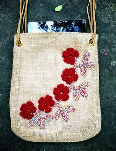 Burlap Tablet Bag Unique Handmade lined natural with crochet red flowers applique for tablet, iPad